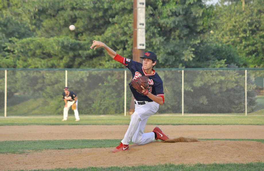 Metro-East Bears starter Tommy Flack delivers a pitch in the first inning of Monday's game in Alton.