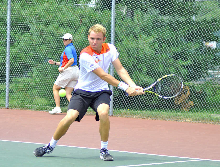 Tennis pro Bjorn Fratangelo hits a ball in last year's Edwardsville Futures Tournament. This year the Edwardsville Futures will run from June 25-Aug. 2. Photo: Intelligencer File Photo