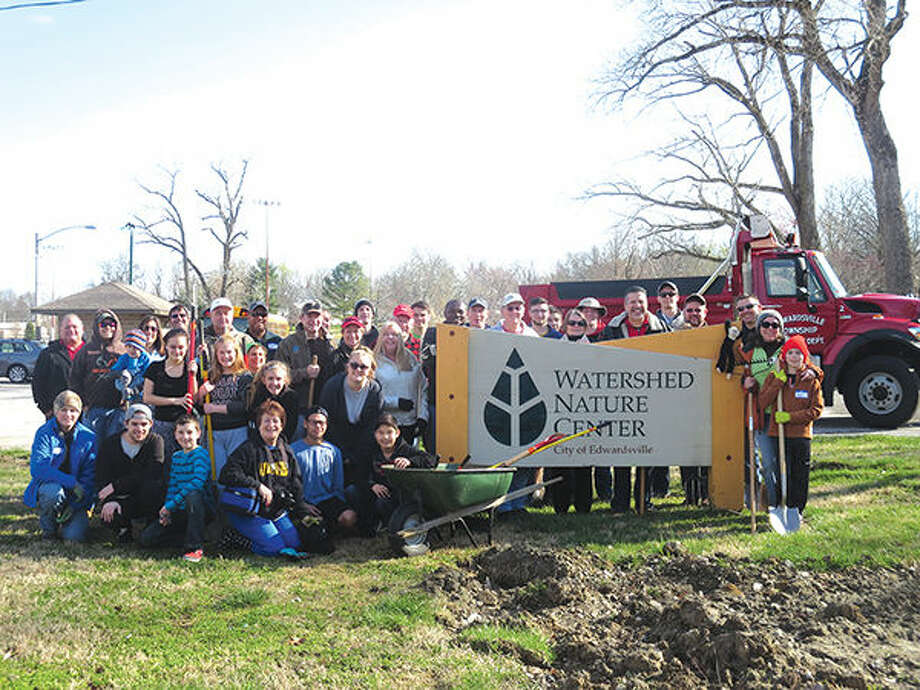 Volunteers from Edwardsville Rotary, Metro Community Church, and Watershed Nature Center are pictured with Township Supervisor Frank Miles and Highway Commissioner Danny Picarella. Photo: For The Intelligencer