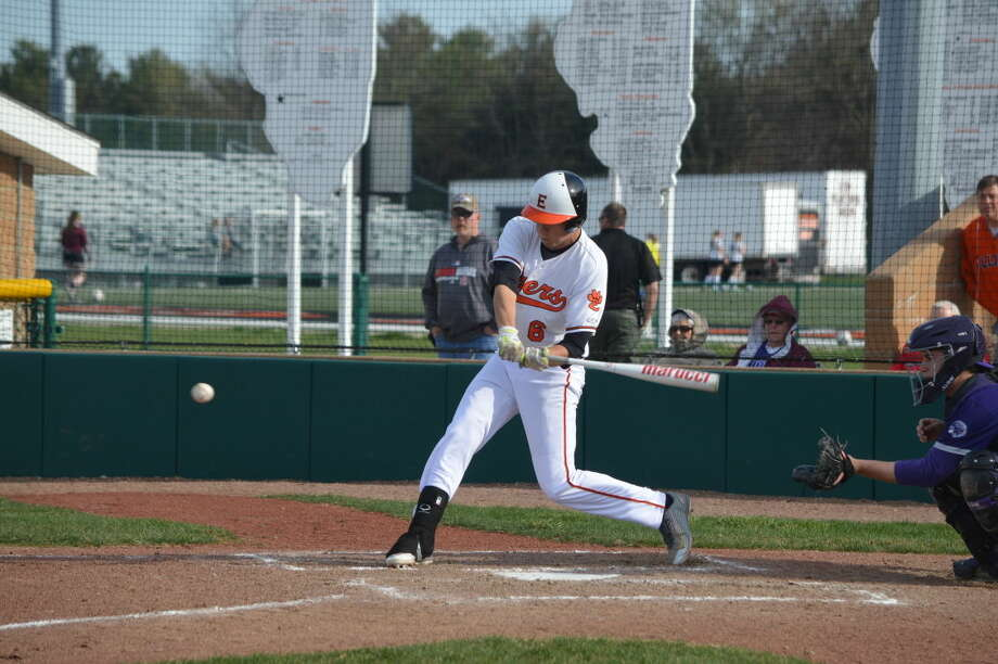 Edwardsville's first baseman Cole Hansel swings at a pitch in the second inning of Tuesday's game at Tom Pile Field.