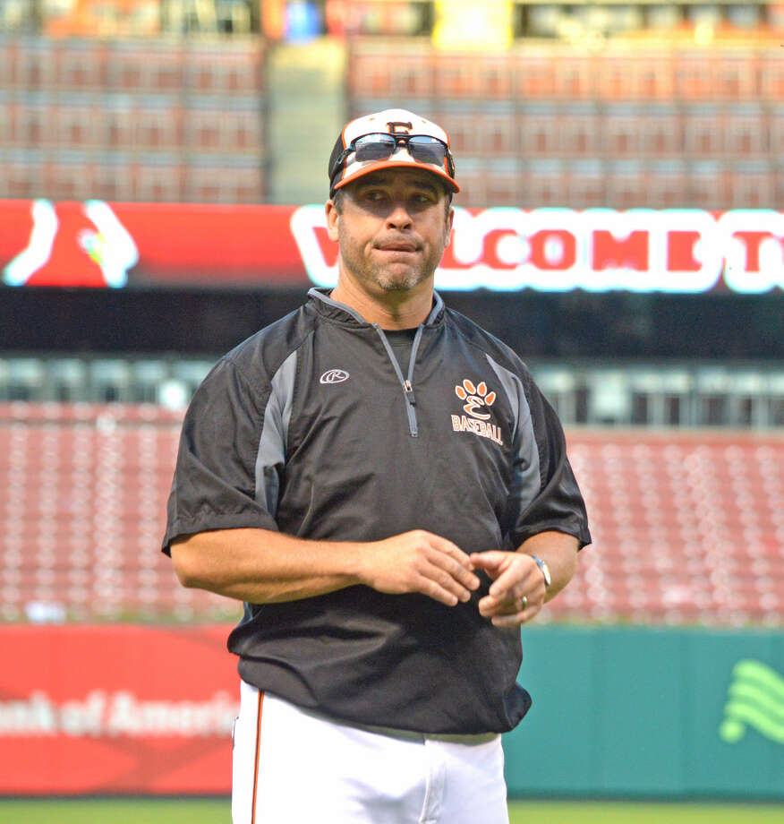 Edwardsville coach Tim Funkhouser looks to the dugout during a May 16 game against Farina South Central at Busch Stadium.
