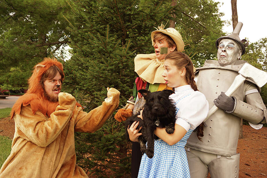 Pictured are: Ben Nickols as the Scarecrow, Randy Trisler as the Cowardly Lion, Roger Speidel as the Tin Man, Sarah Edmonds as Dorothy and Sheba Marie Jangles as Toto. Photos courtesy of Valerie Goldston.