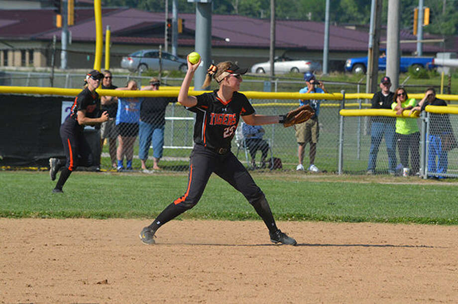 Junior second baseman Jordan Corby makes a throw to first to record the first out of the second inning.
