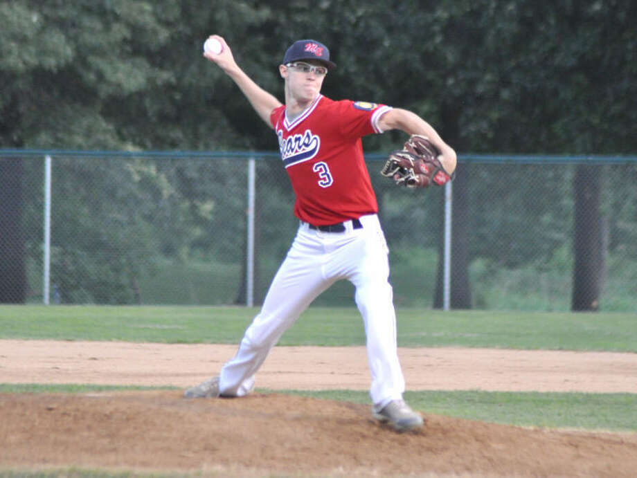Edwardsville Metro-East pitcher Dalton Archer delivers a pitch on Tuesday vs. Highland in Alton.