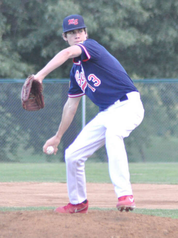Tommy Flack of the Bears delivers a pitch on Wednesday vs. Fairview Heights at Gordon Moore Park in Alton.