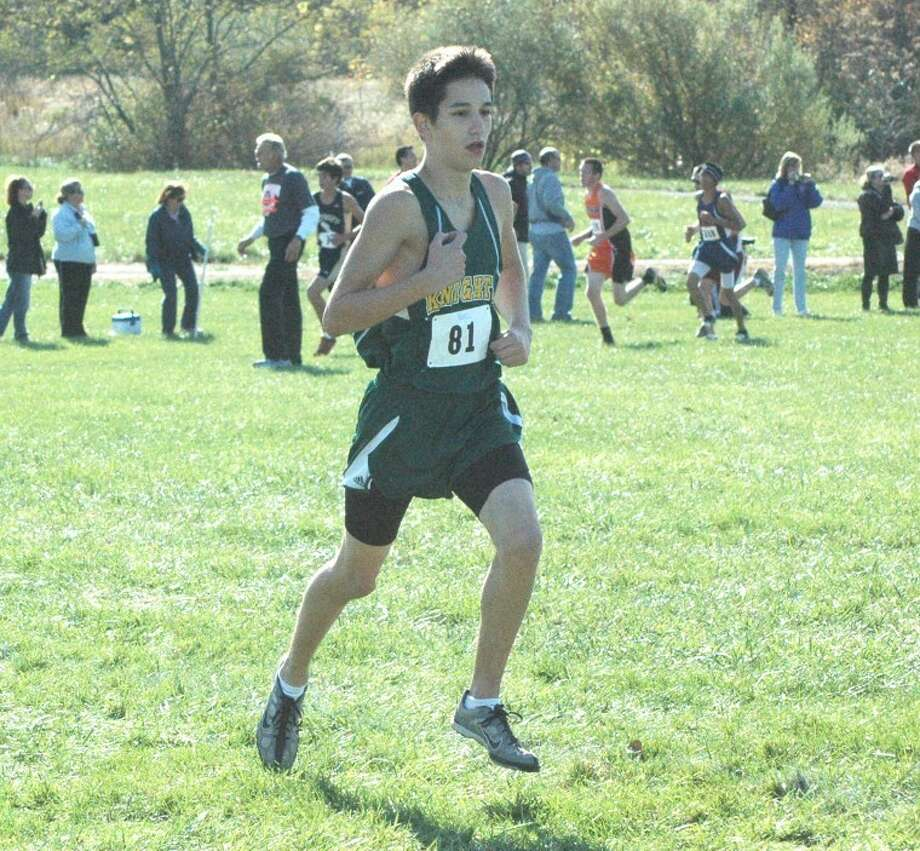 Metro-East Lutheran's Jace Dumont runs at the Class 1A MELHS Sectional on Saturday at SIUE. He finished 11th individually.