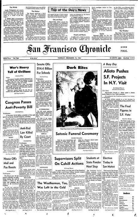 The Chronicle's front page from Dec. 12, 1967, covers a Satanic ceremony in San Francisco. Photo: The Chronicle 1967