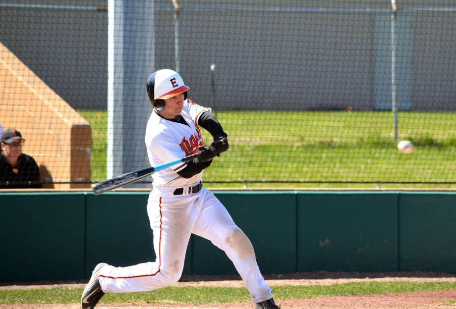 Edwardsville senior Cole Cimarolli gets a one-out double in the second inning of Saturday's non-conference game against Naperville Central at Tom Pile Field.