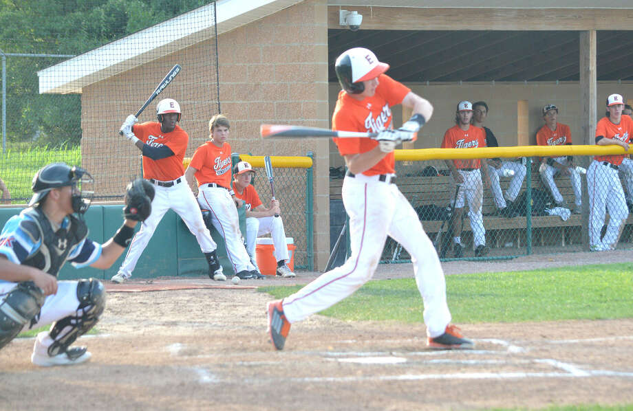 Edwardsville's Cole Cimarolli fouls off a pitch in the third inning of Thursday's game against Hard Knox 17U.