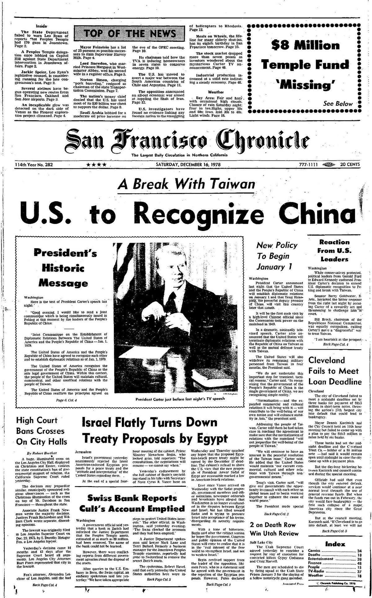 Historic Chronicle Front Page December 16, 1978 The United States to recognize mainland People's Republic of China Chron365, Chroncover