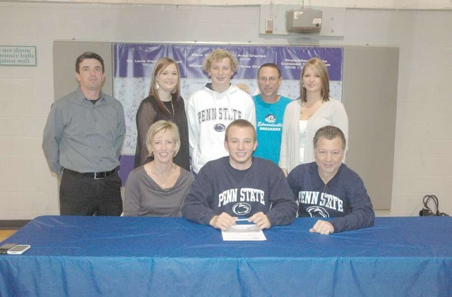 EHS senior Max Byers recently signed with Penn State University to continue swimming. Seated in the front row from left to right are: Jane Byers, mother, Max Byers and Gary Byers, father. Standing from left to right are: EHS swimming head coach Heath Keller, Maggie Byers, sister, Peter Byers, brother, Edwardsville Breakers head coach Bob Rettle and Catherine Byers, sister.