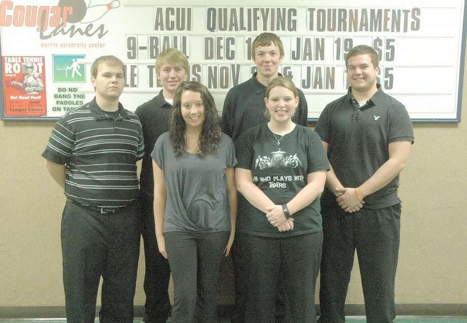Senior members of the Edwardsville bowling team are in the front row from left to right: Sammi Hayes and Kallie Schipkowski. In the back row from left to right are: Steven Hillmer, Hunter Faust, Shawn Kerr and Brian Gifford.