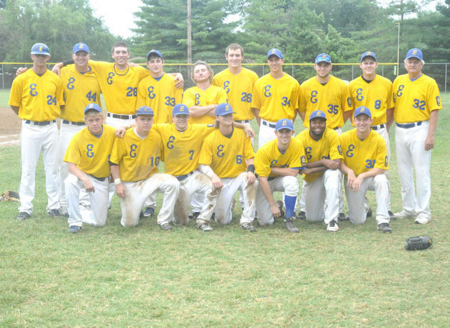 The Edwardsville American Legion Post 199 baseball team poses with their Fifth Division title at Moody Park in Fairview Heights.