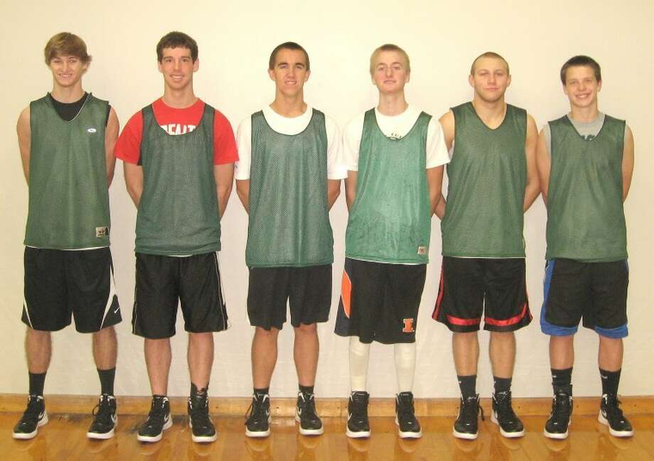 Pictured from left to right are the 2011-12 seniors for the Metro-East Lutheran boys' basketball team: Nick Hoff, Jacob Fanshier, Matt Horton, Brandon Niemeier, Tyler Moore and Chase Keirn.
