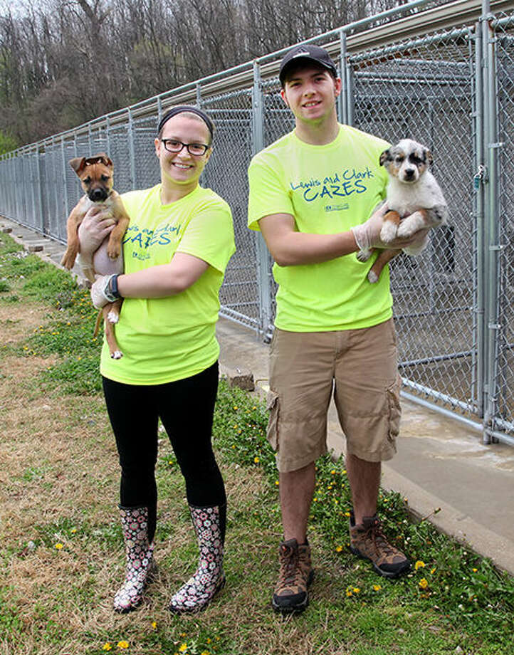 Ellen Lindsay and Brenden Heaton volunteered at 5A's Animal Shelter during L&C Cares Week in 2015. Photo: For The Intelligencer