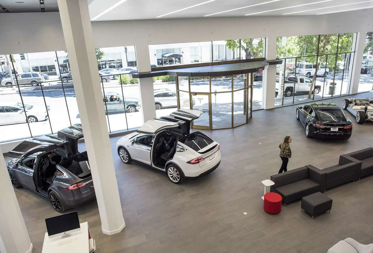 Tesla has signed a lease for its first San Antonio showroom, at a location along Interstate 10 close to the Dominion. Shown is the company's San Francisco showroom.