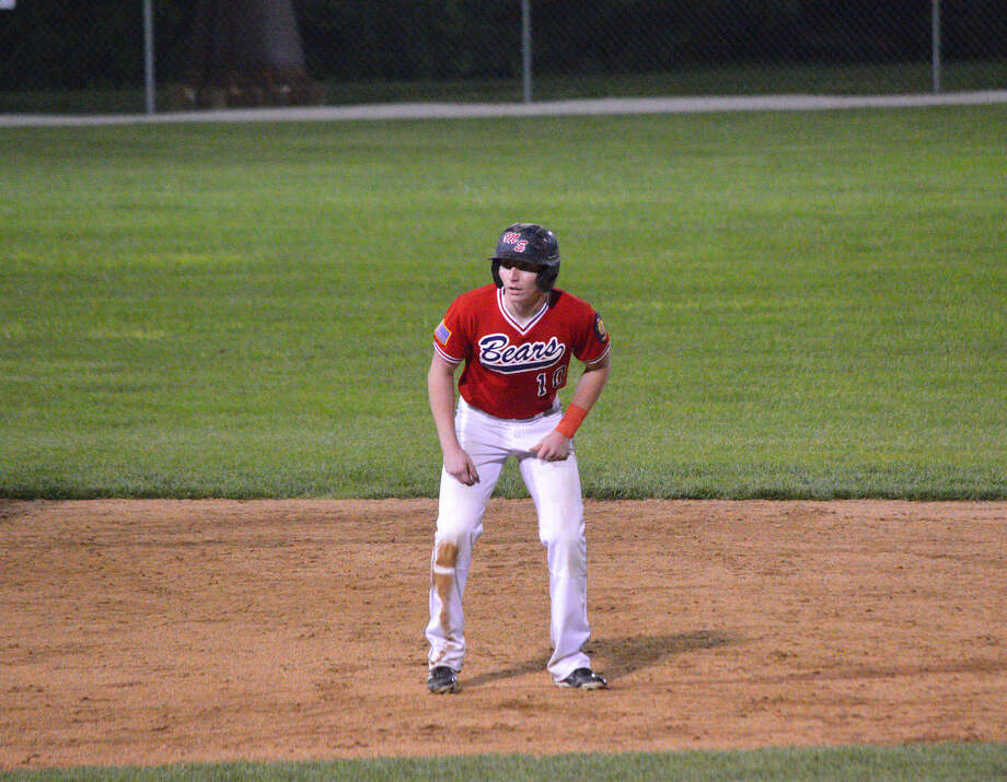 Caleb Buhs takes a lead off from second in Wednesday's game against Highland. The Bears won that game 2-0.