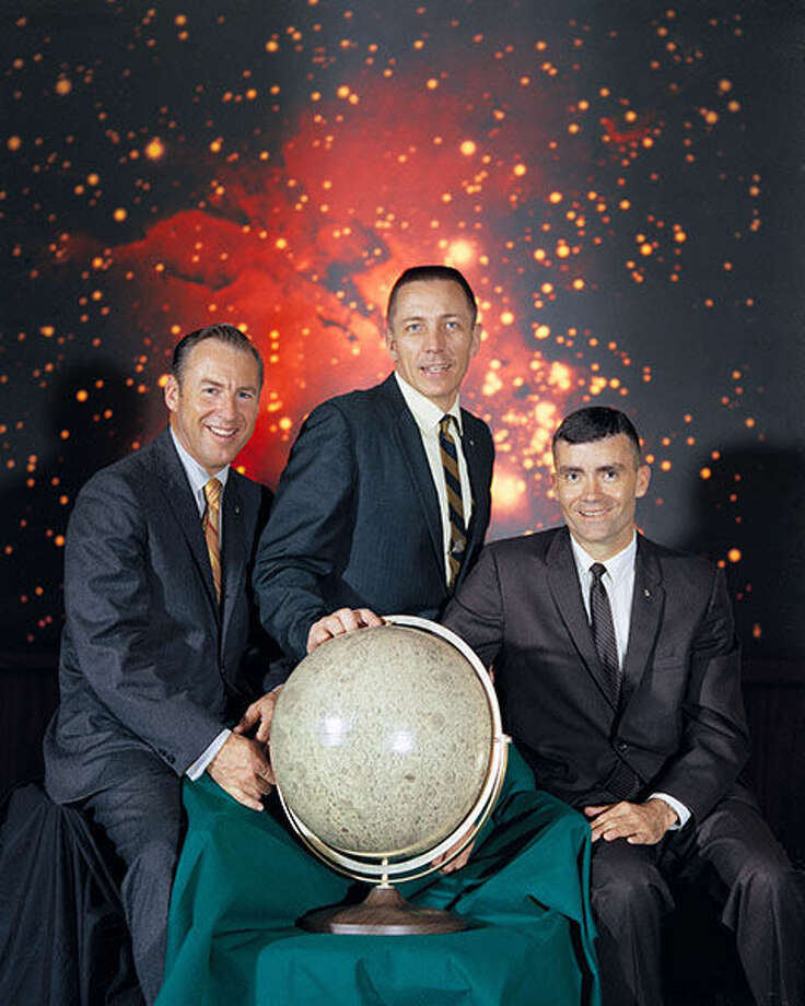 This 1970 NASA pre-launch photo shows Apollo 13 commander Jim Lovell, left, with crew members John Swigert, center, and Fred Haise. Photo: NASA Photo