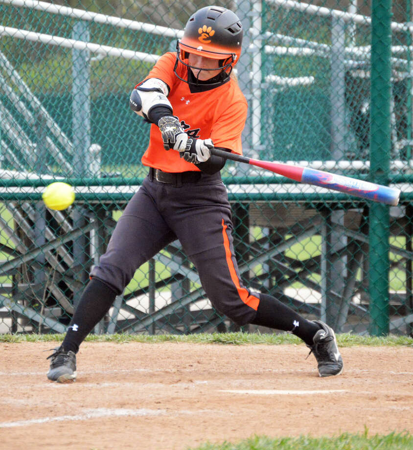 EHS senior Rachel Anderson hits a fifth-inning double for the Tigers.