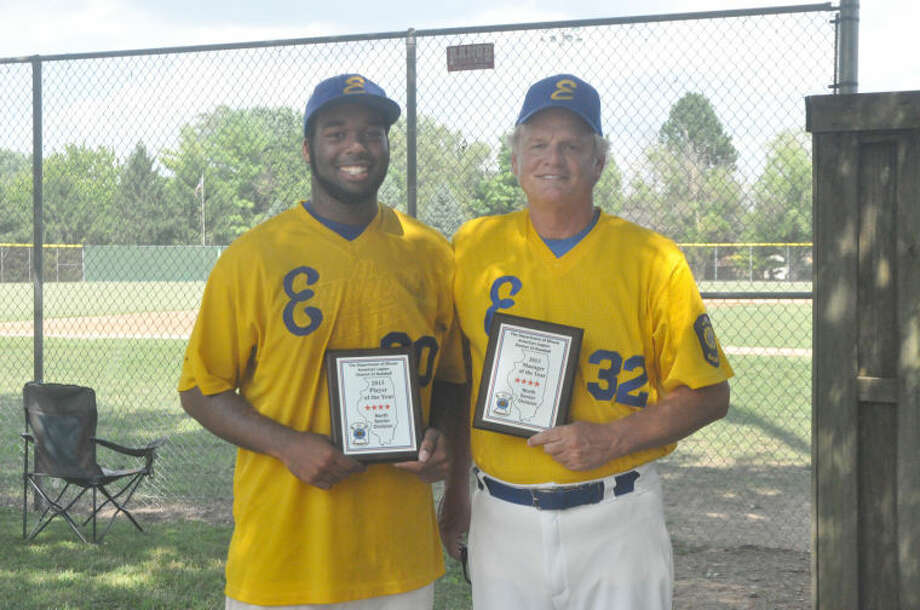 Edwardsville Post 199 manager Ken Schaake, right, and starting pitcher Jevon Boyd were recognized as the Manager and Player of the Years, respectively, in the North Division of District 22.