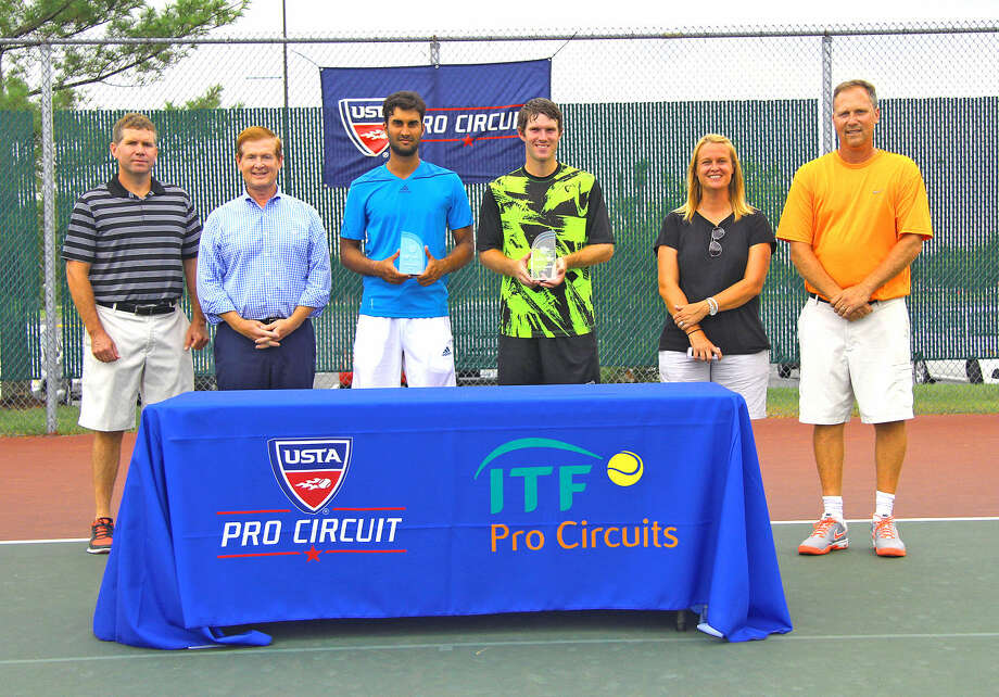 Edwardsville Mayor Hal Patton, EGHM President Joe Gugger, Yuki Bhambri, Mitchell Frank, and tournament directors Kim Geminn and Dave Lipe pose for a photo following the singles championship of the USTA Edwardsville Futures.