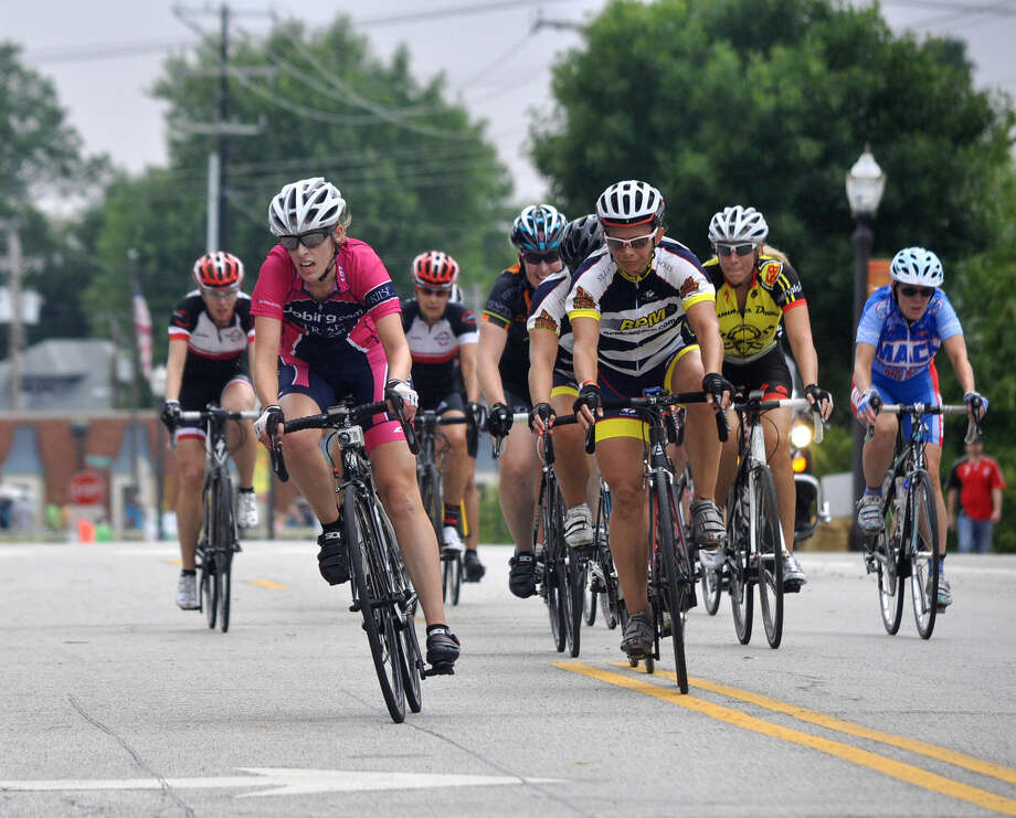 Cyclists take one of seven turns on the 0.7-mile course. This year's race, sponsored by TheBANK of Edwardsville, will be Saturday, Aug. 15.