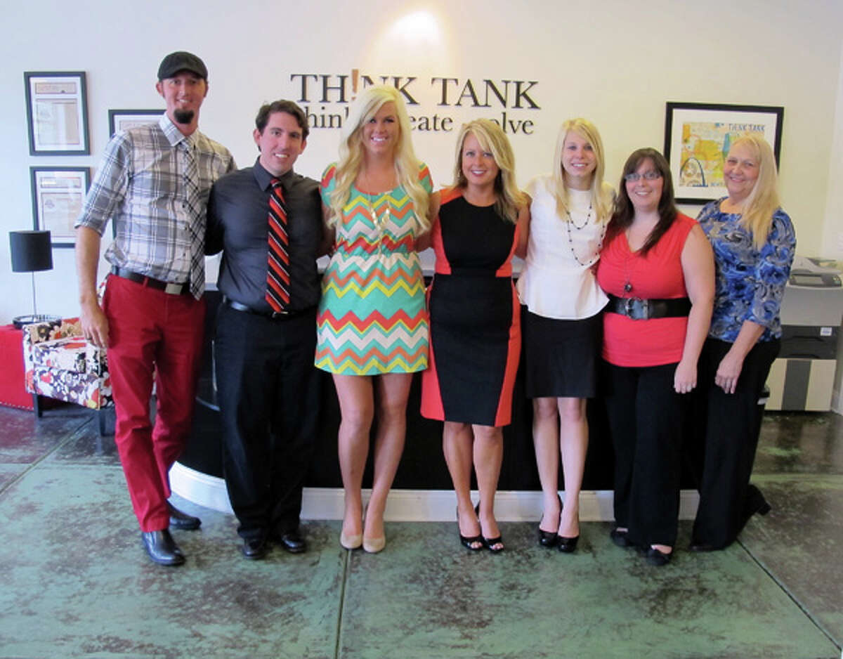 Think Tank staff members include, from left: Kevin Zimarik, Creative Director; James Dauer, Director of Interactive; Nikki Wenzel, Account Executive; Trish Cheatham, CEO; Chelsea Zoeller, Social Media Manager; Tina Tebbe, Lead Copywriter and Anita Strieunoski, Traffic Manager.