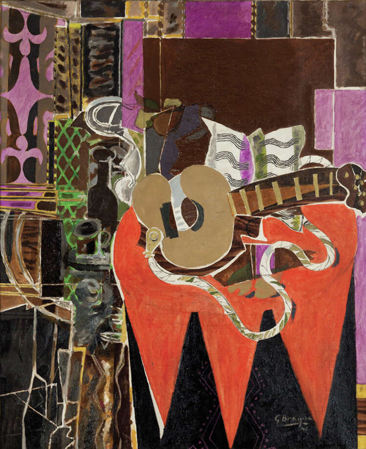 """Georges Braque, Mandolin and Score (The Banjo), 1941. Oil on canvas, 42 1/2 x 35"""". Collection of Charles and Palmer Ducommun. © 2012 Artists Rights Society (ARS), New York / ADAGP, Paris. Photo: Photographed By Virgil Bastos -for The Edge"""