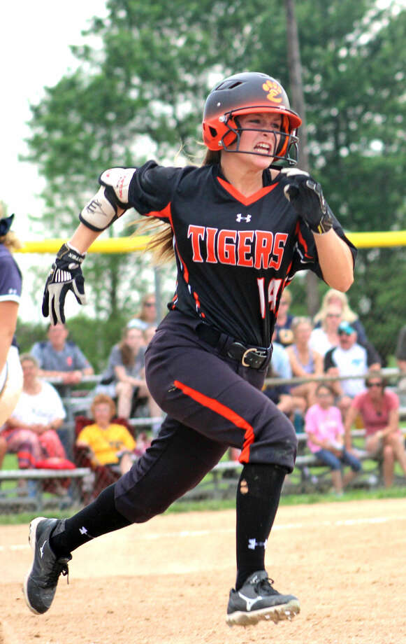 EHS senior Rachel Anderson runs out a bunt single during the sixth inning.