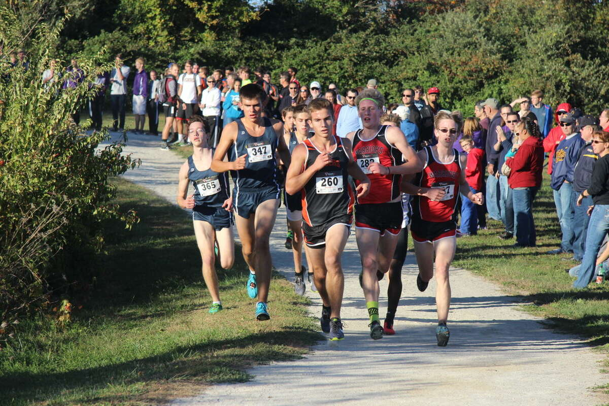 Edwardsville's Franky Romano (No. 260) leads a pack of runners during a regular-season meet in 2015.
