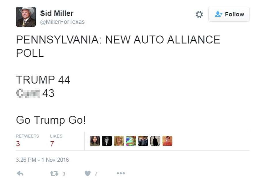 Via @MillerForTexas: PENNSYLVANIA: NEW AUTO ALLIANCE POLL TRUMP 44 Cunt 43  Go Trump Go! Photo: Twitter/@MillerForTexas