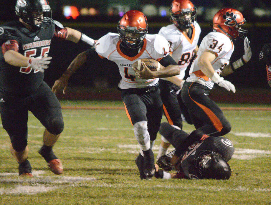 Edwardsville freshman Kendall Abdur-Rahman finds some running room in the second quarter of Friday's Southwestern Conference game at Granite City.