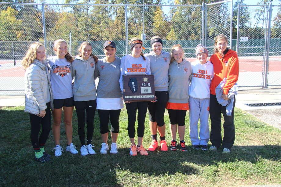 The Edwardsville girls' tennis team after winning the sectional title.