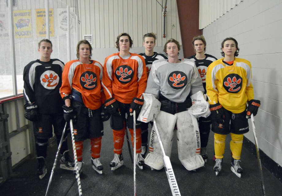 Senior members of the Edwardsville ice hockey team from left are: John Teske, Tyler Hinterser, Jake Aurelio, Colin Kelsey, Blake Johnson, Sam Bramstedt and Christian Blandina.