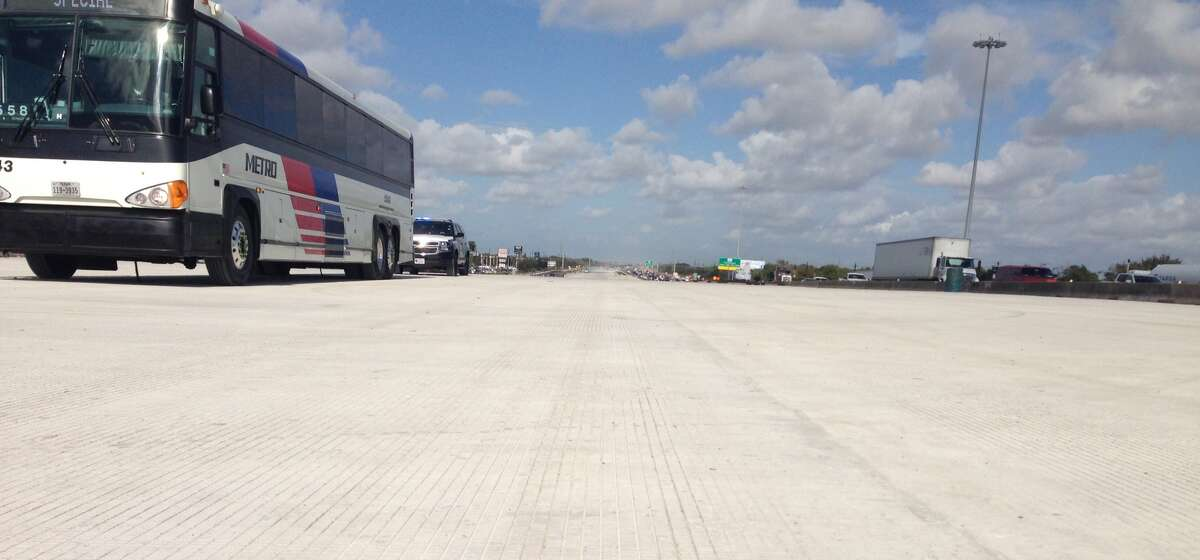 New lanes of Interstate 45 await the finishing touches on an overpass spanning Bay Area Boulevard on Nov 1.