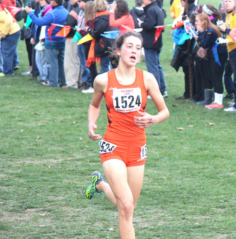 Edwardsville freshman Maddie Miller is on her way to being the Tigers' top finisher in Saturday's Class 3A state meet at Detweiller Park in Peoria.