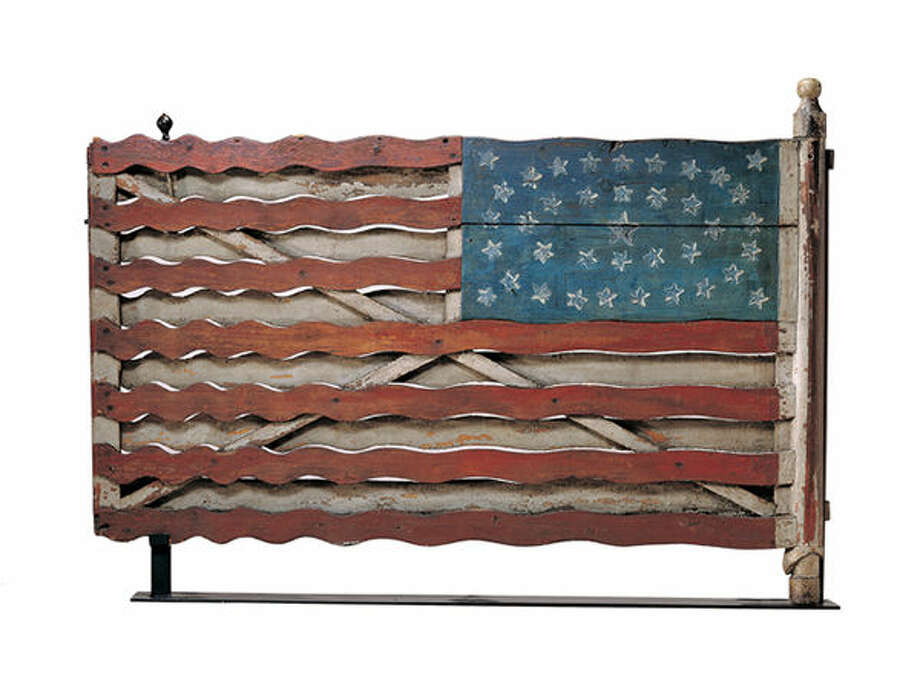 Flag Gate, Jefferson County, New York c. 1876; artist unidentified; paint on wood with iron and brass; 39 1/2 x 57 x 3 ¾ inches; Collection American Folk Art Museum, New York, Gift of Herbert Waide Hemphill Jr. in honor of Neal A. Prince, 1962.1.1; photo by John Parnell, New York. Photo: For The Edge