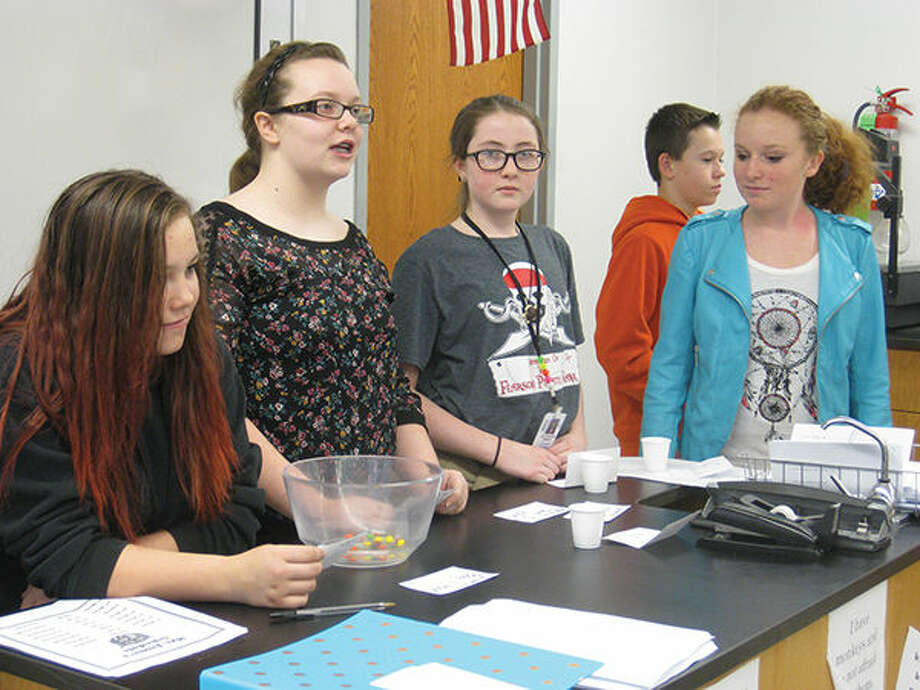 Colony Days participants are, from left, Dayna Genovese (parliament), Abby Loftus (queen), Mackenzie Kimble (parliament), Tyler Depper (tax collector) and Kailey Noud (jailer).