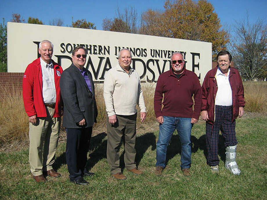 SIUE's first five registrants as they appear today. From left: Don Brunworth, Ric Stephenson, Jim Seka, Bill Lundak and John O'Donnell. Photo: Julia Biggs/Intelligencer