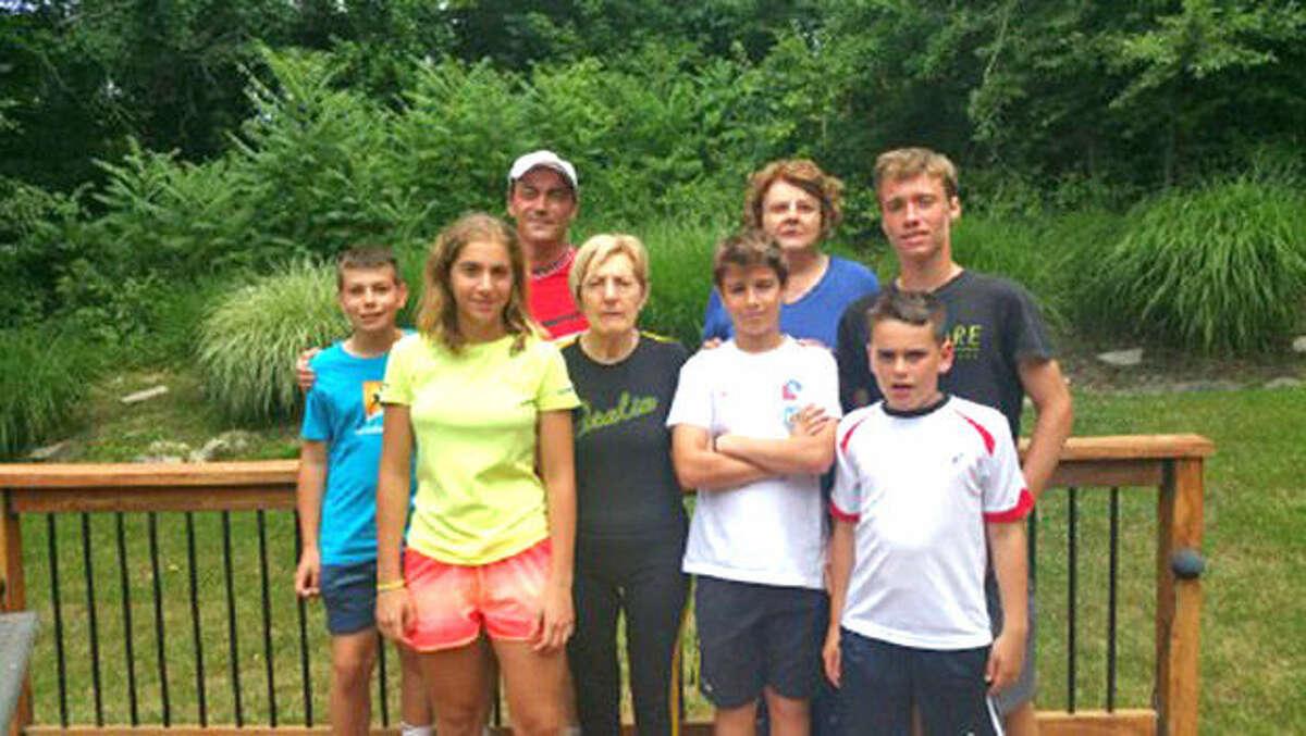 The Italian tennis contingent visiting Edwardsville this summer includes, from left, Gustavo Campagnoli, Ludovica Trano', Donato Campagnoli, Luciana Bulgarelli, Federico Roversi, Guairoli Maura, Giulio Campagnoli and Gabriele Montarini.