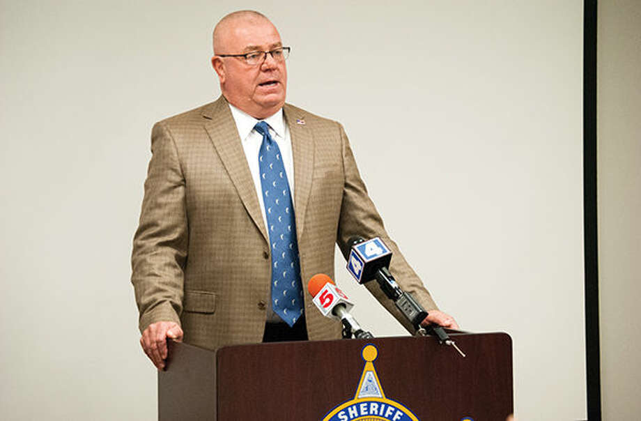Madison County Sheriff John Lakin discusses a shooting that took place Friday morning outside of Marine during a news conference Friday afternoon at the sheriff's office. Photo: Zachary Foote/Intelligencer