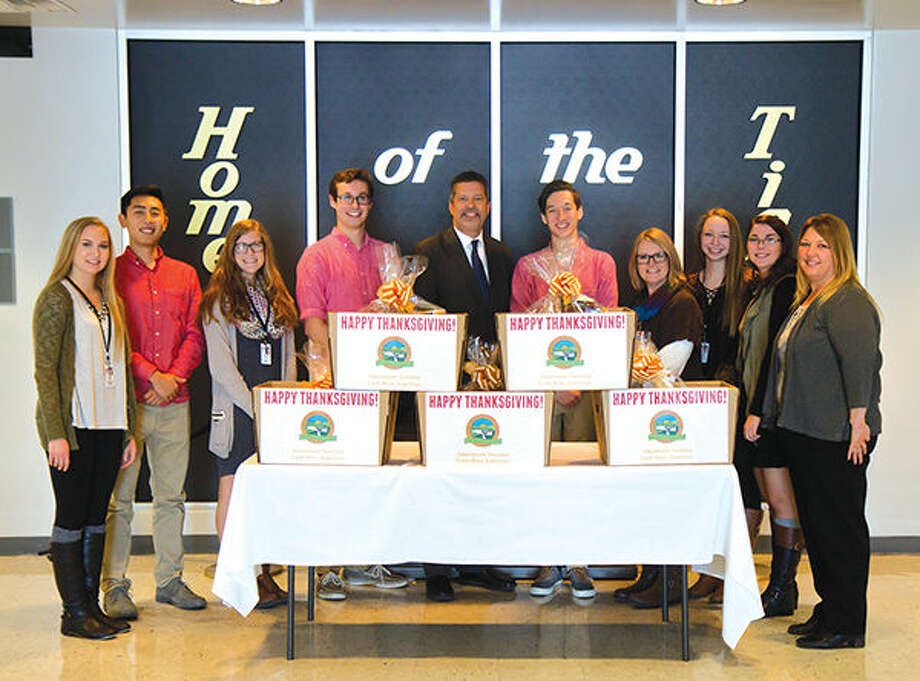 From left are: Claire Ebert, Henry Lu, Maddi George, Tom Webb, Township Supervisor Frank Miles, Clayton Schneider, EHS Student Council Sponsor Melissa Beck, Kaitlyn Frick, Nina Weatherly, and Township Community Outreach Coordinator Christine Doty. Photo: For The Intelligencer