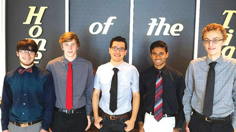 EHS WorldQuest team members are, from left: Campbell Potter, Ian Klein, Alp Aktuna, Pradeep Kandula and Will Jeziorski. Photo: For The Intelligencer
