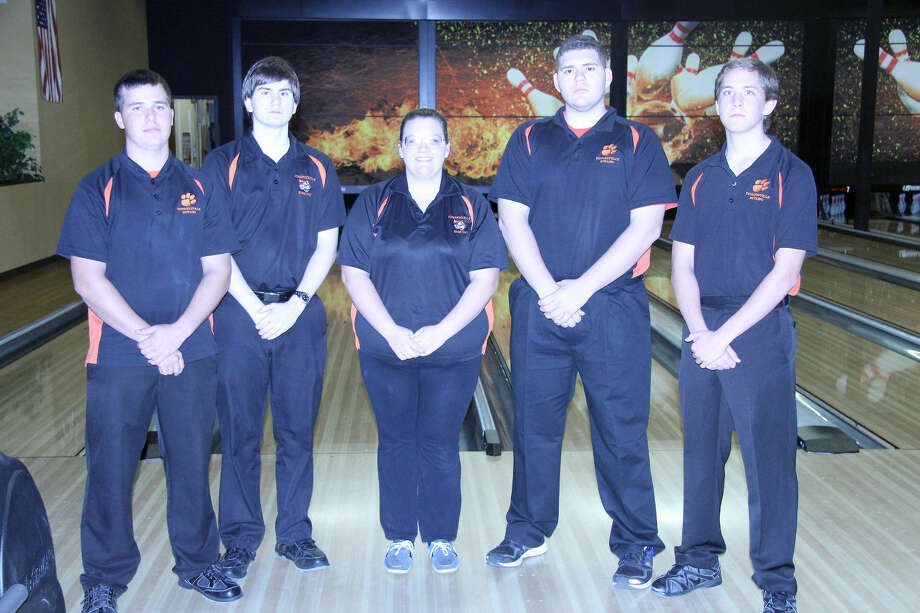 The Edwardsville High School senior bowlers this season are from left to right: Tyler Cooper, Matthew Brust, Megan Wallace, Mitch McSparin and Tommy Hartnagel.