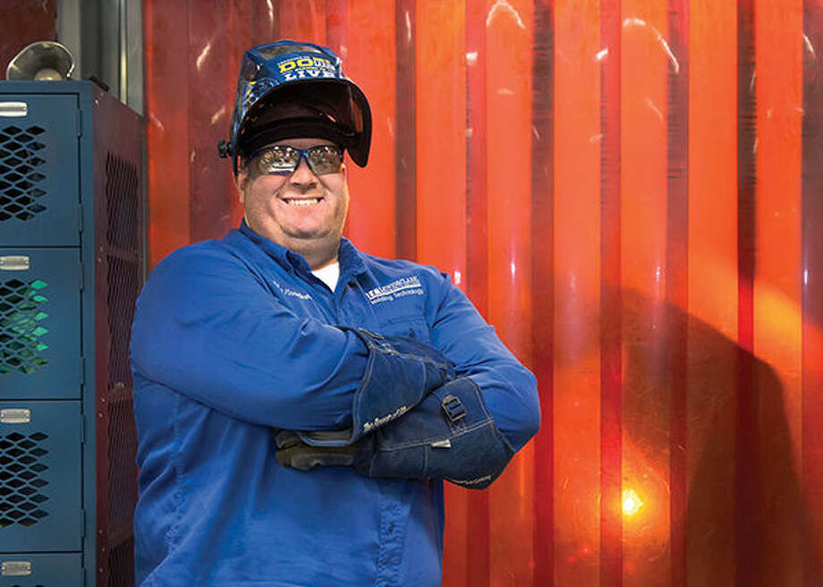 Travis Jumper, assistant professor and coordinator of Lewis and Clark Community College's Welding program, received the 2015 Howard E. Adkins Memorial Instructor of the Year Award from the St. Louis section of the American Welding Society (AWS) in December 2015. He started at Lewis and Clark in April 2012 and developed the welding program curriculum. He taught his first class during the second half of Fall 2012 semester and has seen interest and enrollment climb steadily in the field. Photo by S. Paige Allen, Lewis and Clark Community College photographer/media specialist. Photo: S. Paige Allen