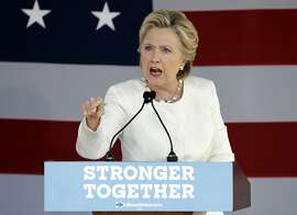 Democratic presidential candidate Hillary Clinton gestures during a campaign speech Tuesday, Nov. 1, 2016, in Dade City, Fla. (AP Photo/Chris O'Meara)