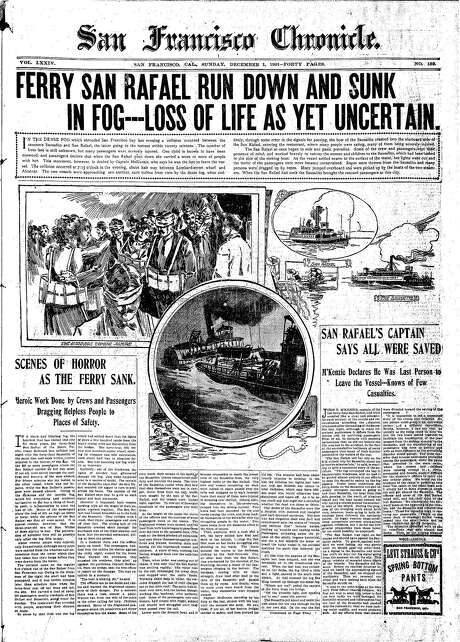 The Chronicle's front page from Dec. 1, 1901, covers a ferry collision in San Francisco Bay. Photo: The Chronicle 1901