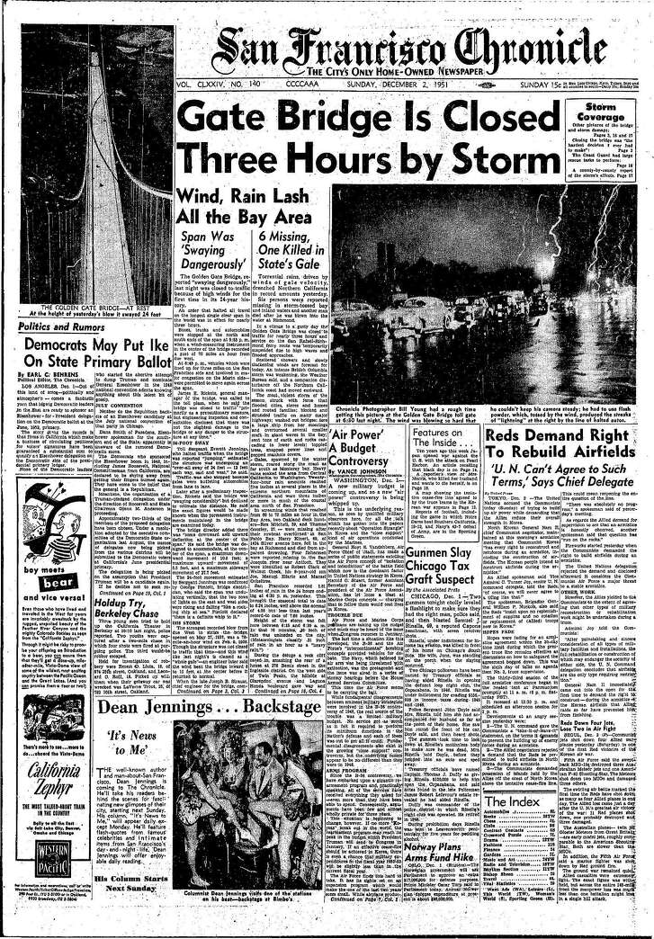 Historic Chronicle Front Page December 02, 1951  The Golden Gate Bridge is closed, as it swings wildly from side-to-side  Chron365, Chroncover