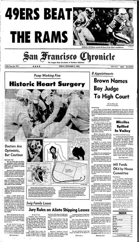 The Chronicle's front page from Dec. 3, 1982, covers a history-making heart surgery. Photo: The Chronicle 1982