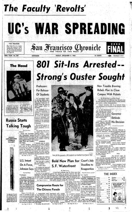 The Chronicle's front page from Dec. 4, 1964, covers mass arrests during free speech protests at UC Berkeley. Photo: The Chronicle 1964